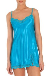In Bloom By Jonquil Women's Satin Chemise Bright Turquiose
