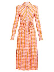 Altuzarra Claudia Ruched Gingham Jersey Midi Dress Orange Multi