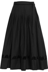 Tomas Maier Pleated Flocked Cotton Poplin Wrap Skirt Black