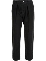 Nili Lotan Cropped Pleated Trousers Black
