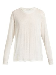 Frances De Lourdes Marlon Round Neck Cashmere And Silk Blend T Shirt Ivory