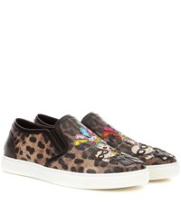 Dolce And Gabbana Leopard Printed Slip On Sneakers Multicoloured