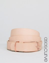 Asos Curve Fine Oblong Clean Waist And Hip Belt Nude Beige