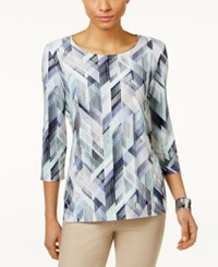 Jm Collection Floral Print Jacquard Top Only At Macy's Green Fading Shape