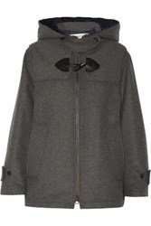 See By Chloe Wool Blend Hooded Jacket Dark Gray