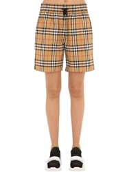 Burberry Check Shorts W Side Bands Brown