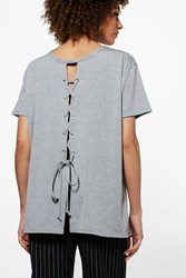 Boohoo Hope Lace Up Front T Shirt Grey Marl