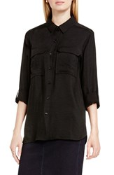 Vince Camuto Women's Two By Hammered Satin Utility Shirt Rich Black