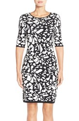 Petite Women's Tahari Pattern Body Con Sweater Dress Black White