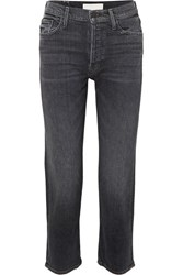 Mother The Tomcat Cropped High Rise Straight Leg Jeans Black