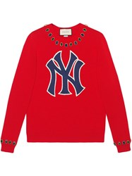 Gucci Wool Sweater With Ny Yankeestm Patch Red