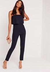 Missguided Bandeau Double Layer Jumpsuit Navy Blue