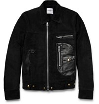 Takahiromiyashita Thesoloist. Shearling Lined Leather And Suede Jacket Black