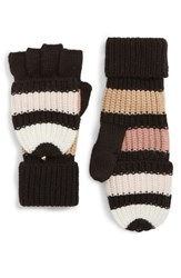 Kate Spade New York Stripe Convertible Knit Mittens Faded Peony