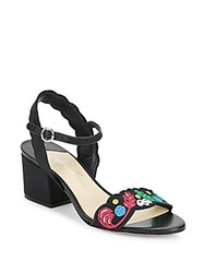 Isa Tapia Scalloped Embroidered Sandals Black