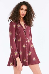 Kimchi And Blue Sabrina Floral Long Sleeve Mini Shirt Dress Red Multi