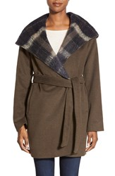 Vera Wang 'Vivian' Plaid Trim Hooded Wool Blend Wrap Coat Sage