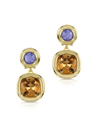 Forzieri Purple And Orange Crystal Earrings