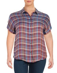 Lucky Brand Plus Plaid Button Front Shirt Red Multi