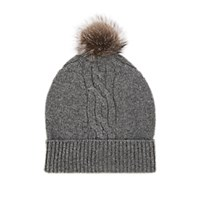 Barneys New York Fur Trimmed Cable Stitch Cashmere Beanie Light Gray