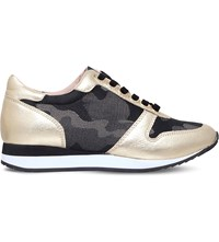Carvela Libby Camoulflage And Metallic Leather Trainers Gold Comb