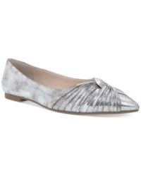 Nina Klaire Pointed Toe Evening Flats Women's Shoes Dusted Silver