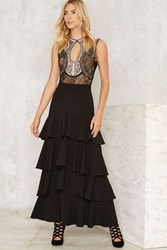 Give It A Spin Tiered Maxi Skirt Black