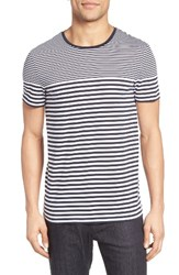 Boss Men's Tessler Slim Fit Stripe T Shirt Navy