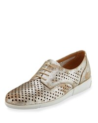 Sesto Meucci Dira Perforated Lace Up Sneakers Platino