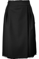 Thom Browne Frayed Wrap Effect Wool Blend Skirt Black