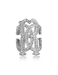 Roberto Cavalli Rc Icon Silvertone Ring W Crystals