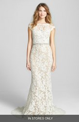Reem Acra Women's 'Emma' Embroidered Waist Lace Column Gown Cream Nude