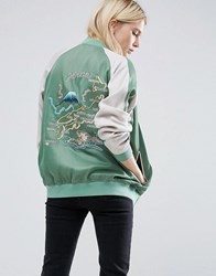 Asos Reversible Bomber Jacket With Embroidery Multi