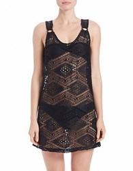 J Valdi Diamond Crochet Ring Tank Cover Up Black