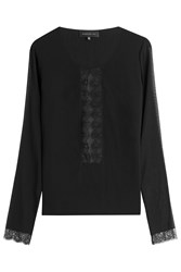 Barbara Bui Silk Top With Lace Panels Black