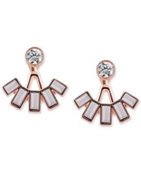 T Tahari Rose Gold Tone Crystal And Stone Front And Back Earrings