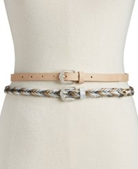 Inc International Concepts I.N.C. 2 For 1 Solid And Braided Skinny Belts Blush Silver