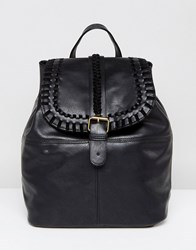 Liquorish Plait Detail Backpack Black