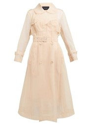 Simone Rocha Faux Pearl Embellished Tulle Trench Coat Beige