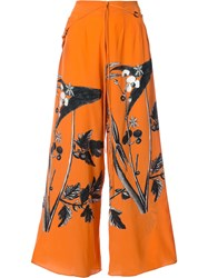 Osklen Printed Palazzo Pants Women Silk 36 Yellow Orange