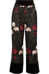 Ganni Simmons Cropped Velvet Trimmed Embroidered Tulle Wide Leg Pants Black