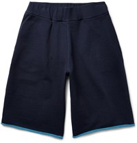 Christopher Kane Loopback Cotton Blend Jersey Shorts Midnight Blue