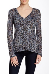 Go Couture Long Sleeve Printed Burnout Tee Multi
