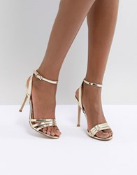 9c191c70cead Lipsy 3 Strap Barely There Sandal Gold