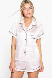 Boohoo Bridesmaid Embroidered Satin Tshirt Short Set Nude