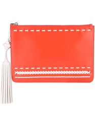 Tod's Woven Stitch Tassel Clutch Women Calf Leather One Size Red