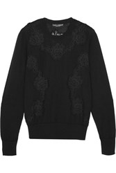 Dolce And Gabbana Lace Paneled Cashmere Blend Sweater Black