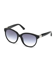 Swarovski Round Cat Eye Embellished Temple Sunglasses Black