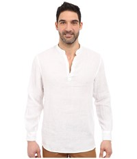 Perry Ellis Long Sleeve Solid Linen Popover Shirt Bright White 1 Long Sleeve Button Up