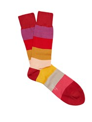 Paul Smith Wide Striped Cotton Blend Socks Red Multi